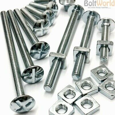 M6 Zinc Plated Steel Cross Slotted Mushroom Head Roofing Bolts /& Square Nuts