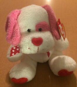 """Ty Beanie Babies Pink, Red, and White Dog Named Lovesick 7"""""""