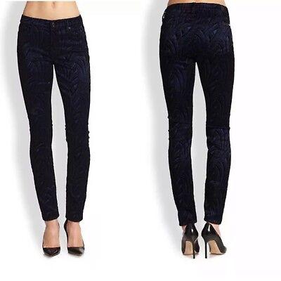 $ 225 Seven 7 Per Tutti Malhia Kent Velluto Skinny Jeans Nero Floccato 24-28