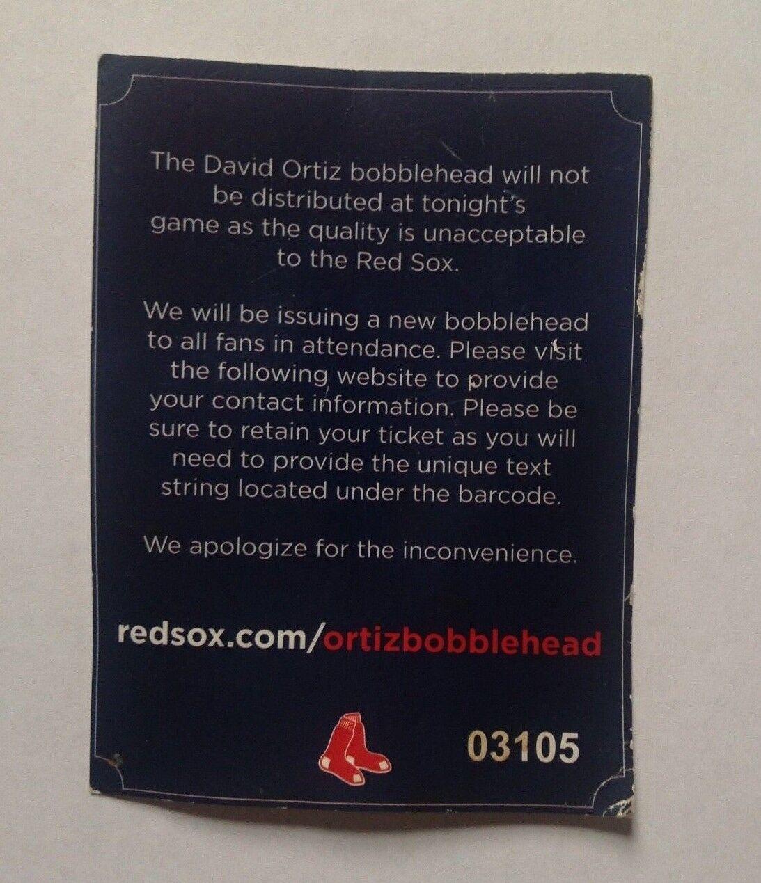 Boston Red Sox David Ortiz Bobblehead Voucher Voucher Voucher 8/9/16 para Sga Mota Grande Papi 3834c7