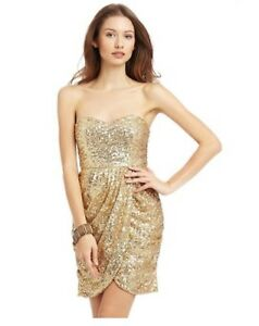 36e1ad76 Image is loading Minuet-Gold-Sequin-Strapless-Sweetheart-Tulip-Skirt-Dress-