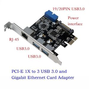 PC-PCI-E-to-External-3-ports-USB-3-0-et-Gigabit-Ethernet-Adaptateur-Carte-Convertisseur