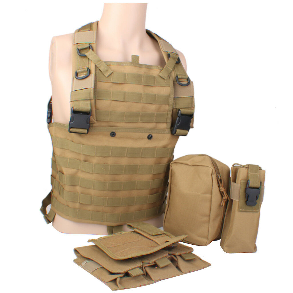 Tactical Vest Carrier Plate Army Molle Vest Chest Rig Webbing Vest Waistcoat