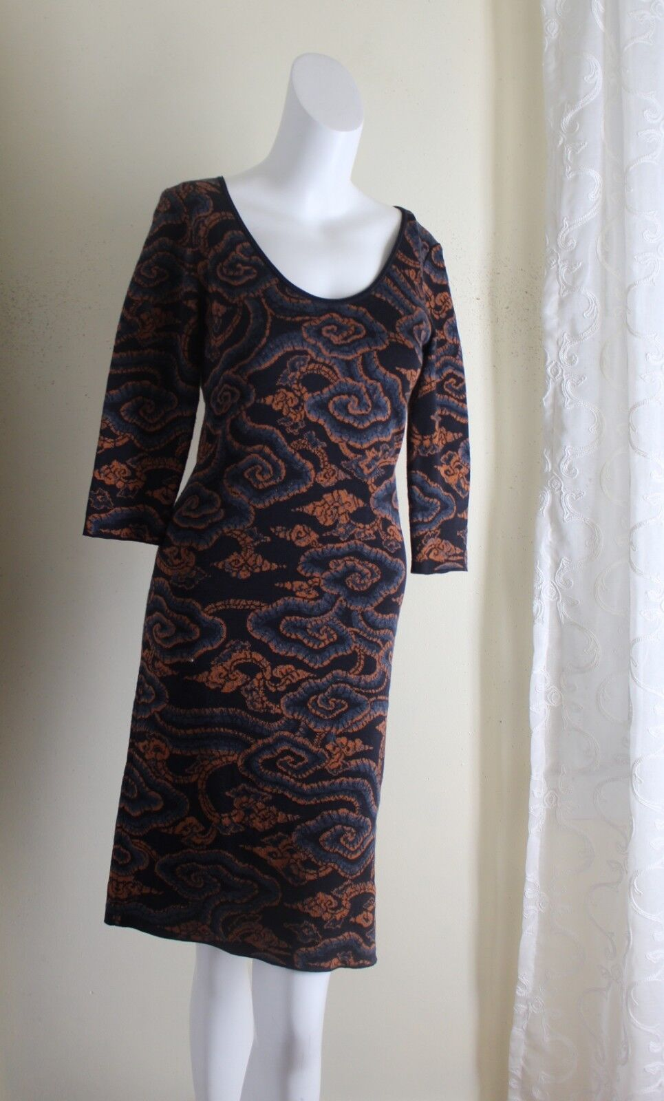 Peruvian Connection -Sz XS Exciting Asian Inspired Art Pima Cotton Sweater Dress