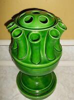 Vintage Ceramic Flower Stem Frog Vase Italy Italian Pottery Green 12 Tall Urn