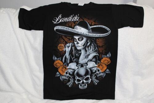 BANDIDA SKULL SKULLS DAY OF THE DEAD MUERTOS LADY PISTOL ROSE T-SHIRT