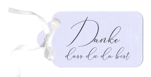 """dass Du da bist/"""" Etiketten Geschenkanhänger Anhänger Pastell LAVENDEL 10 /""""Danke"""