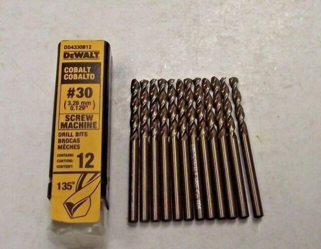 DEWALT DD4330B12 #30 Wire Cobalt Screw Machine Length Drill 12-Pack