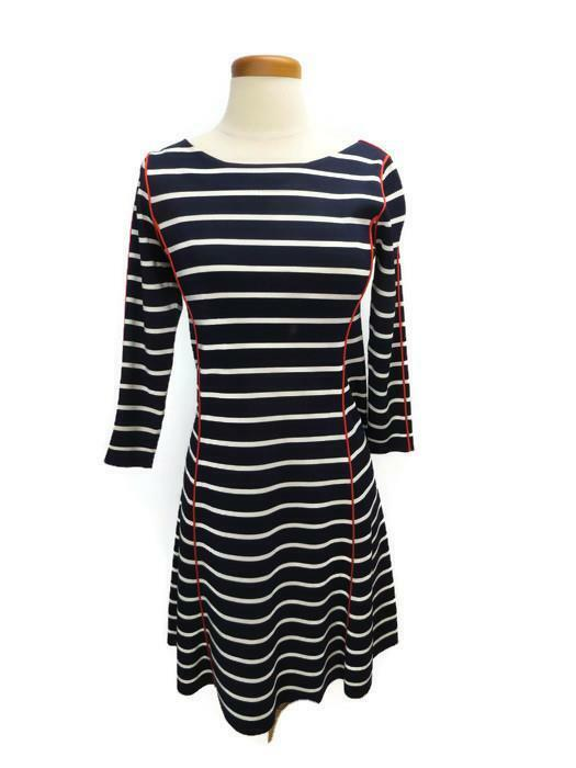 Eliza J Dress Navy White orange Trim Size 6 8 3 4 Sleeves Knee Length