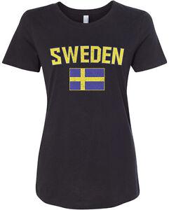 Threadrock Women S Sweden Flag T Shirt Swedish Stockholm Ebay