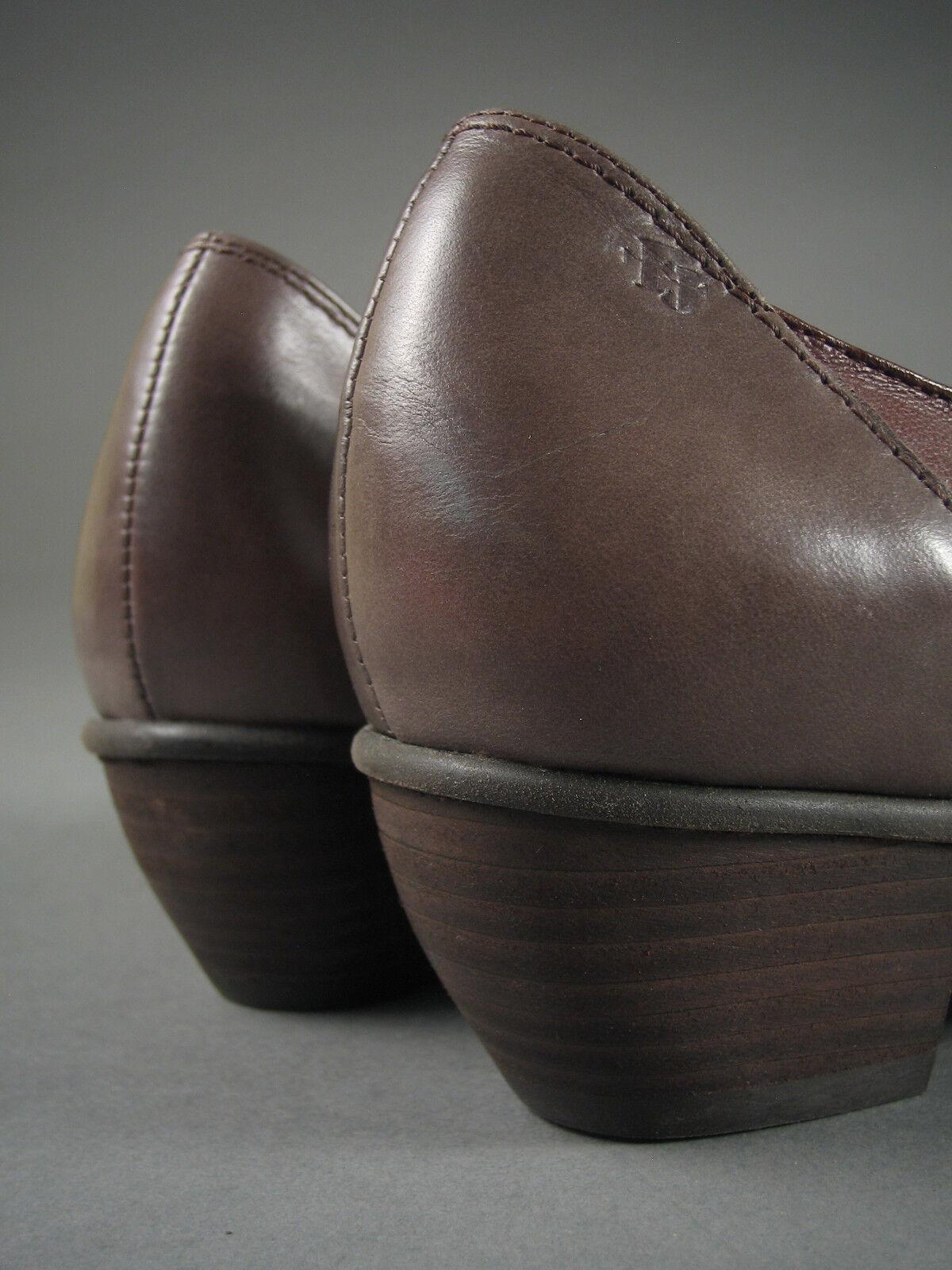 New FIDJI Brown & Gray EUR LEATHER Slip-on PUMPS Portugal Size 7-7.5 US/37 EUR Gray NIB ! 011f29
