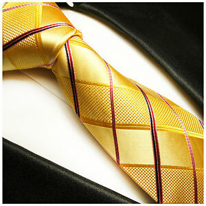 Herren-accessoires Romantisch Paul Malone Krawatte Gelb Rot Blau Gestreift Seide Kleidung & Accessoires Gelbe Seidenkrawatte 538