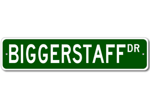 Personalized Last Name Sign BIGGERSTAFF Street Sign