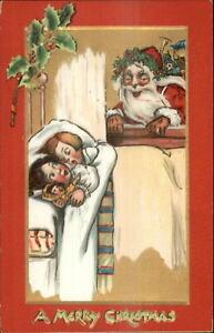 Christmas-Santa-Claus-Spots-Children-in-Bed-TUCK-501-c1910-Postcard