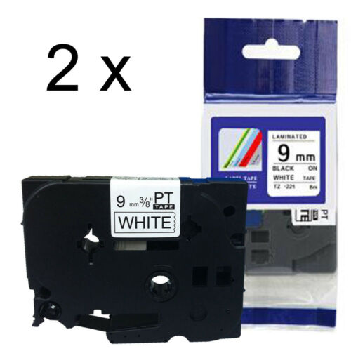 Compatible Brother TZ-221 P-Touch Black On White Label Tape 9mm x 8m TZe-221