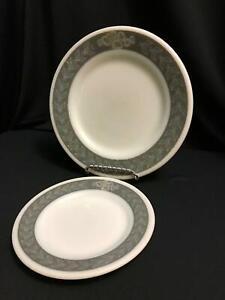 "PYREX TableWare Corning gray white Laurel Leaf 3 heavy plates 6.75"" 9"" vtg MCM"