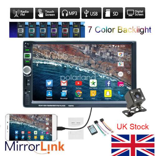 7 Inch 2 DIN Car MP5 Player FM Touch Radio USB Bluetooth Head Unit Rear Camera