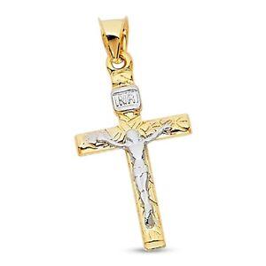 Jesus INRI Charm 14k Yellow White Gold Christ Crucifix Pendant Two Tone Solid