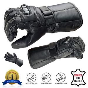 ALL-SIZES-Leather-Motorbike-Motorcycle-Gloves-Biker-Waterproof-Windproof-Thermal