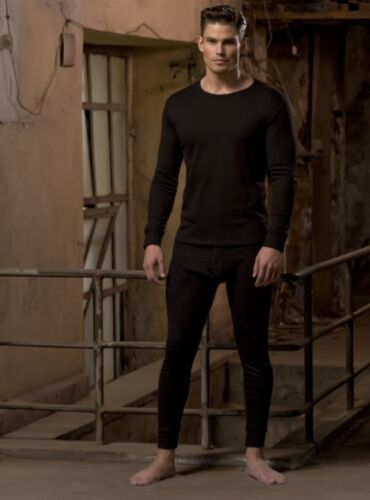 Men/'s 100/% Pure Cotton Heavy Weight Soft Long Sleeve Fitted T-Shirt 240 gsm