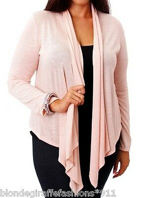 Light Pink Long Sleeve Asymmetrical Scarf Drape Front Cardigan/Cover-Up Plus