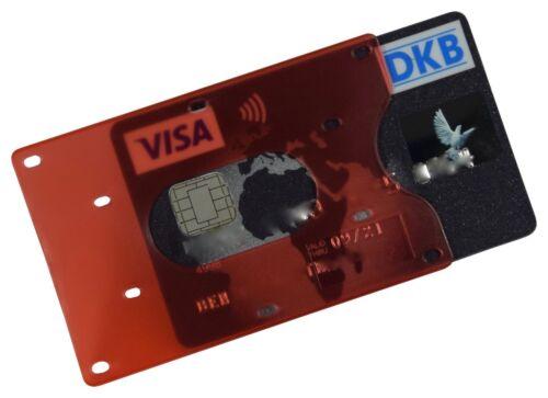 EC Kartenhülle Blau Rot Transparent STABIL Kreditkartenhülle Scheckkartenbox