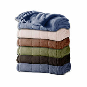 Holmes by Sunbeam Channeled Velvet Plush Electric Heated Blanket All Sizes