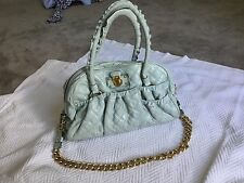 Marc Jacobs Quilted Chain Julianne Bowler Blue Grey Leather GHW Ruffle Tote Rare