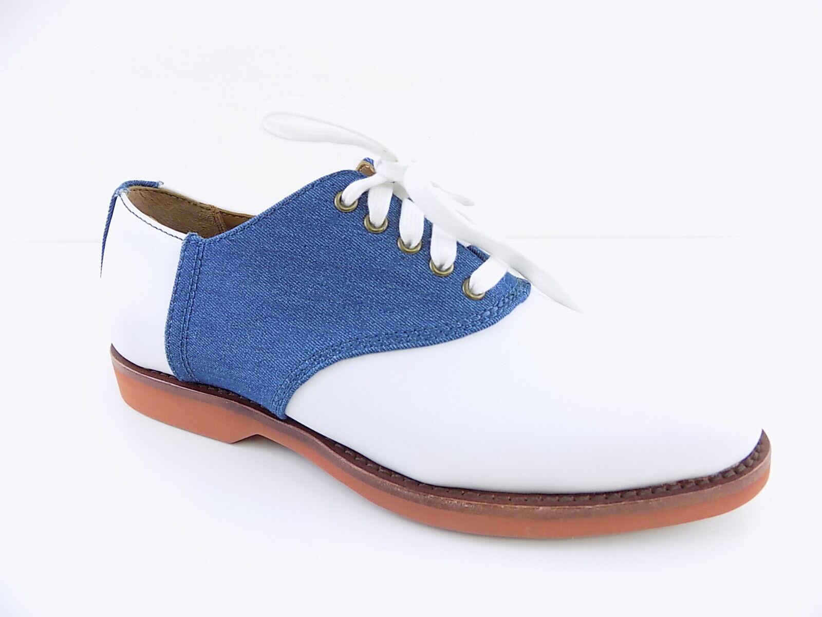 Polo Ralph Lauren   ORVAL White MENS Size 7D Oxfords DENIM SADDLE shoes D10