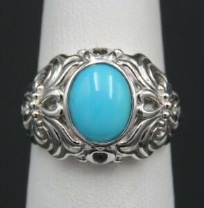 QVC-Sterling-Silver-Ornate-Sleeping-Beauty-Turquoise-Designer-Ring-Sz-5