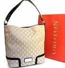 RRP$595 New Oroton Bag Handbag Mystical Hobo Shoulder Bag Leather Canvas Brown