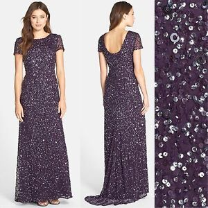 1976cfc6588 NWT Adrianna Papell Short Sleeve Sequin Mesh Gown Amethyst [4 6 6P 8 ...