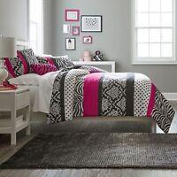 Beautiful Chic Hot Pink Black Polka Dot Girl Zebra Comforter Set Full Queen