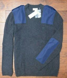 Lacoste $225 AH9167 Men's British Commando Chine Wool Cotton Patch Sweater 2XL 7