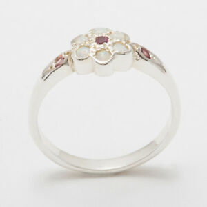 9ct-White-Gold-Natural-Pink-Tourmaline-amp-Opal-Womens-Cluster-Ring-Sizes-J-to-Z