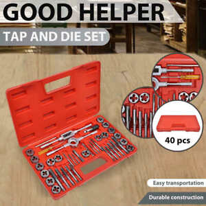 vidaXL Tap and Die Set 40 pcs Metric Wrench Cuts Bolts Engineers Kit Tool Case