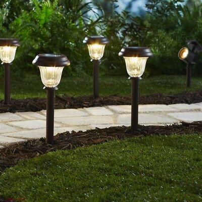 Metal Pathway Lights Bright Solar Decorative Landscape Led Outdoor Accessories 829376032527 Ebay