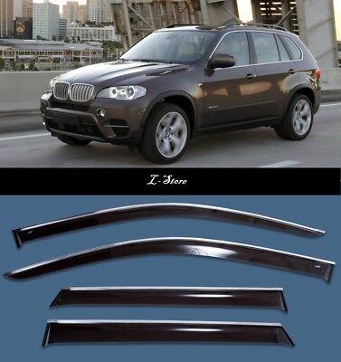 Chrome Trim Side Window Visors Guard Vent Deflectors For BMW X3 E83 2003-2010