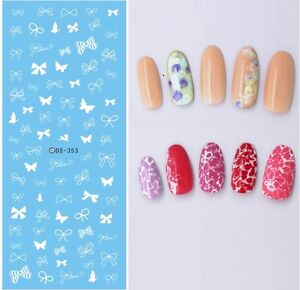 Nail-Art-Water-Decals-Transfers-Stickers-White-Bows-Butterfly-Bowknots-DS353