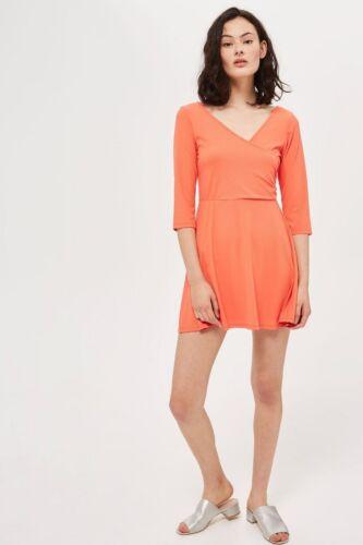 TOPSHOP Skater Dress PETITE Orange Wrap Back V cut 3//4 sleeve figure hugging