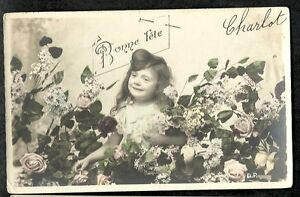 CPA-Couleur-Bonne-Party-Little-Girl-and-Flowers-D-P-Stamp-5c-1905