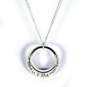 Necklace-I-love-you-to-the-moon-and-back-silver-plated-family-friend-christmas