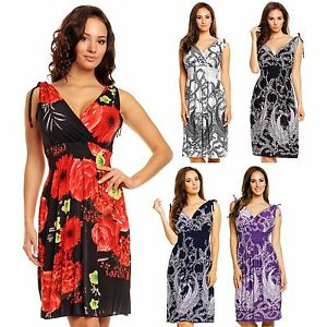 74fd87c8ece Details about Ladies Floral Vines Print Summer Beach Casual Holiday Short  Day Dress UK 8 - 22