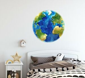 Details About Watercolor Earth Wall Decal Removable Planet E Sticker Childrens Room Decor