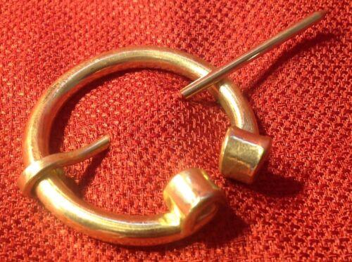 Viking Penanular Solid Brass Curl Brooch Fibulae SCA Celtic Medieval Renaissance