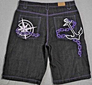 denim 41x15 Ricamo di eleganti Pantaloncini nautico premium Ubug viola in neri bianco q0n8Tt