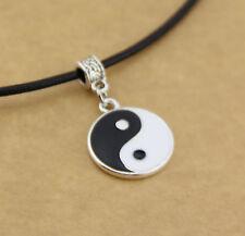 Fantastico Yin e Yang Ciondolo Pendente Collana con Corda Di Pelle Argento Yi
