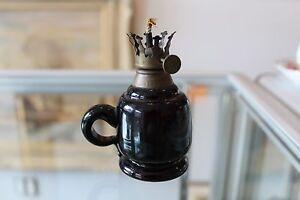 "Genuine Antique Miniature Finger Oil Lamp Dark Purple Pressed Glass W/ Handle 4"""