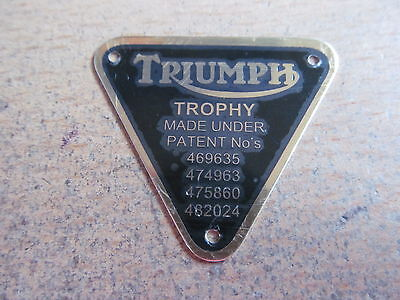 70-2876 GENUINE TRIUMPH BRASS TROPHY PATENT PLATE BADGE WITH RIVETS *