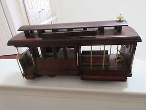 "Vintage , Wood , Trolley / Cable Car , Music Box , 14"" X 8"" X 5"" , 8 Wheels"